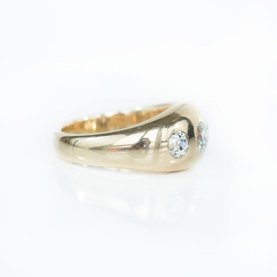Three Stone Antique Gypsy Set Old European Cut Diamond Ring in 14k Yellow Gold