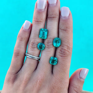 Custom Order-  Three stone Teal Paraiba Garnet and Pear Diamond Ring - Reserved for M. R