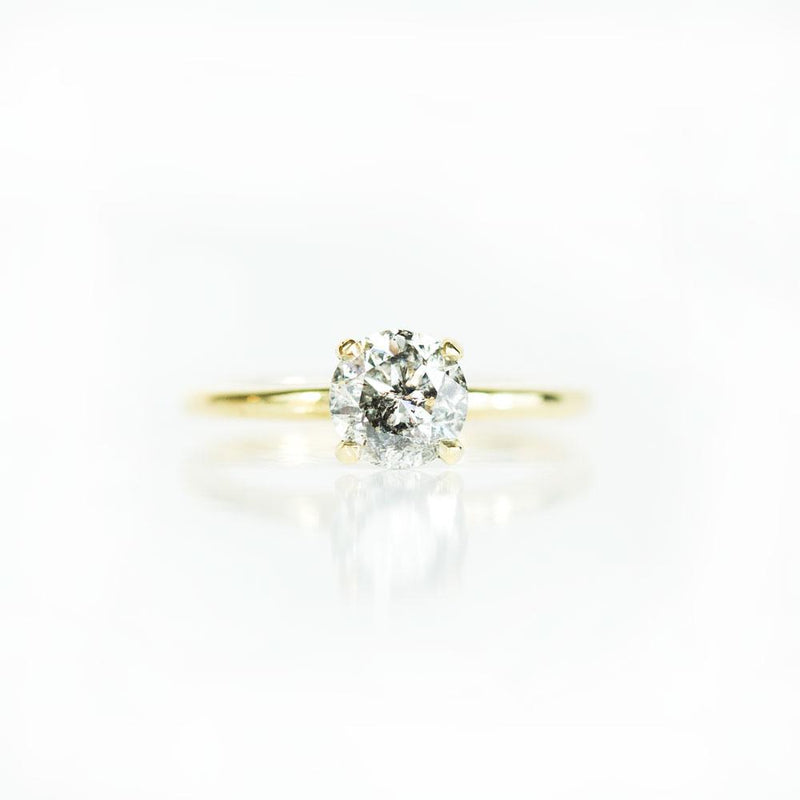 1.19ct Sparkling Dark Salt and Pepper Diamond in 18k Classic Solitaire