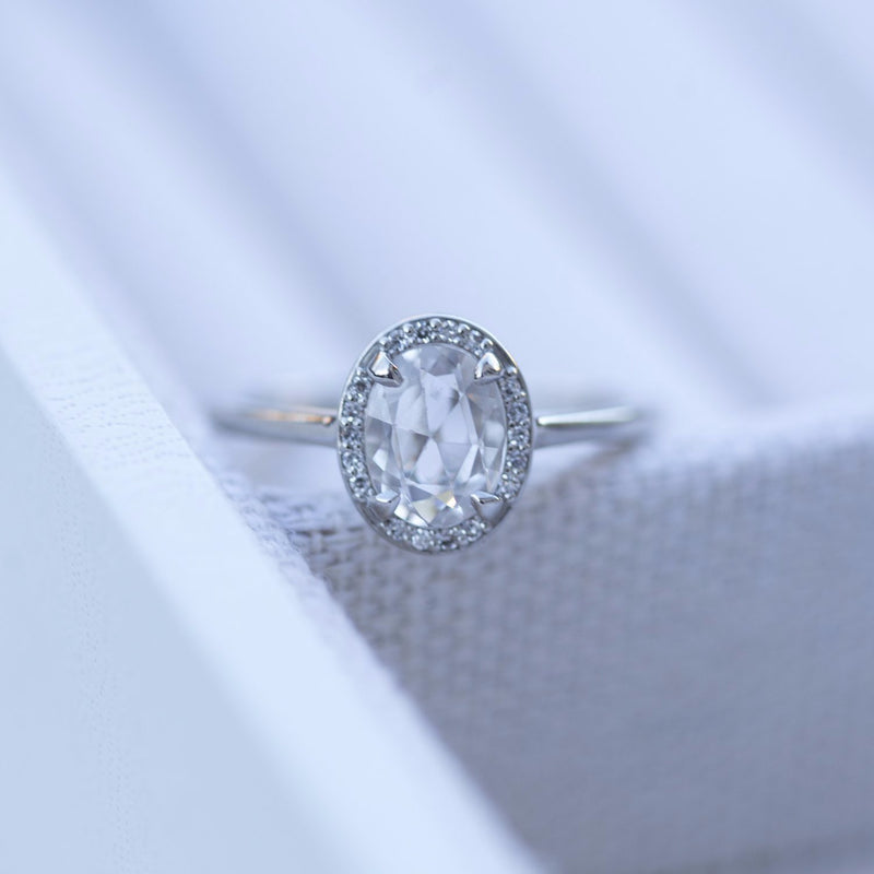 Rosecut Oval Zircon Platinum Ring - Natural gemstone, diamond alternative - rosecut engagement ring - Platinum halo antique inspired ring by Anueva Jewelry