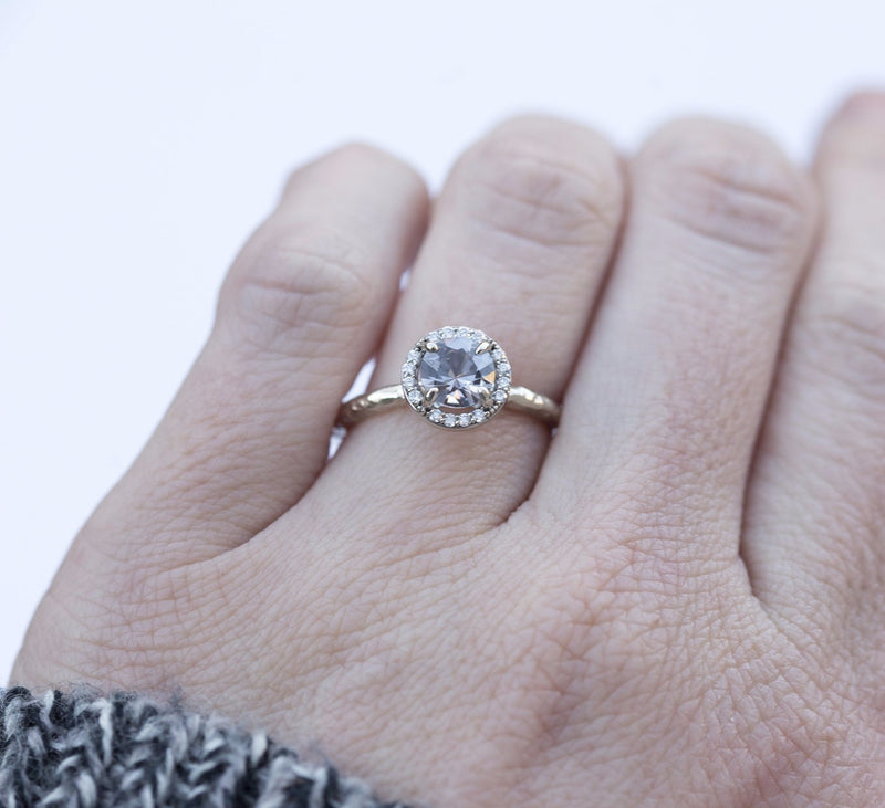 Silver Grey Spinel in White Gold Diamond Halo - Hand Carved Eclectic Band and Antique-inspired setting - Spinel Engagement Ring by Anueva Jewelry