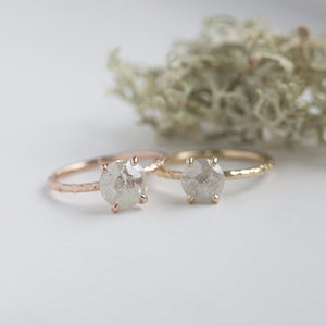 rosecut grey diamond galaxy diamond rose gold hand carved dainty engagement ring