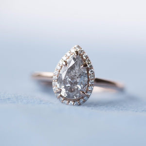 Final Payment - 1.43ct Silver Pear Diamond in rose gold halo setting by Anueva Jewelry