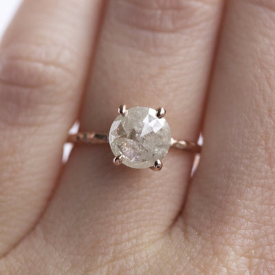 evergreen collection rosecut grey diamond galaxy diamond rose gold hand carved dainty engagement ring