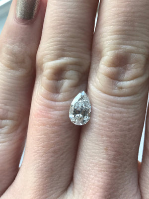 Custom Order-  1.06ct Pear Salt and Pepper Diamond in Solitaire Setting - Reserved for S. S