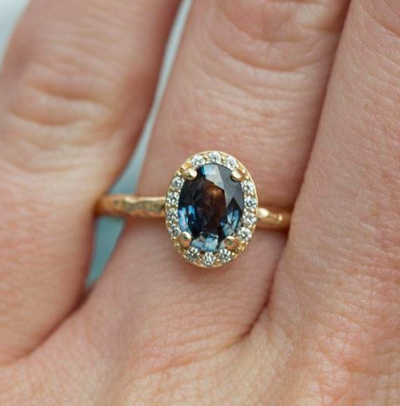 eco friendly recycled gold mermaid sapphire custom engagement ring