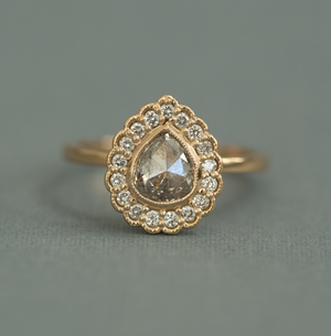 Custom Order-  Yellow Gold Pear Diamond Halo Engagement Ring