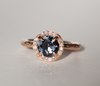 Custom Order- Ethically Sourced 1.39ct Montana Sapphire & Diamond Halo Ring in 14k Rose Gold- Final Payment