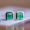 Emerald Bezel Set Earrings in Rose and Yellow Gold