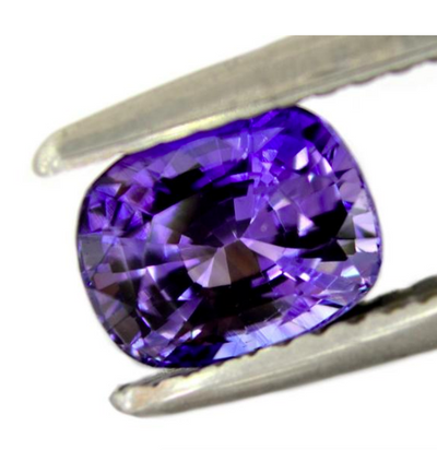 Custom Order- 1.40ct Purple Sapphire and Diamond Halo Engagement Ring in Platinum. Reserved for Z.