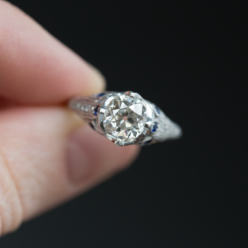 1.37ct Old Mine Cut Diamond Ring - Antique Reproduction with Sapphire Accents in platinum