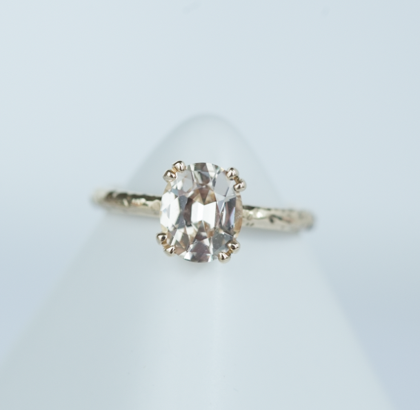 2ct NUDE CHAMPAGNE SAPPHIRE IN YELLOW GOLD EVERGREEN BAND- SAPPHIRE ENGAGEMENT RING BY ANUEVA JEWELRY- Reserved for A.M