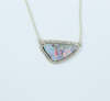 Yellow Gold Opal Triangle Diamond Necklace