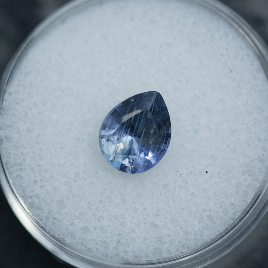 1.95CT UMBA PEAR SAPPHIRE, PERIWINKLE BLUE PURPLE, 8.59X6.84MM