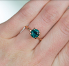 2.04ct Deep Teal Madagascar Sapphire Ring in 14k Rose Gold Evergreen Solitaire