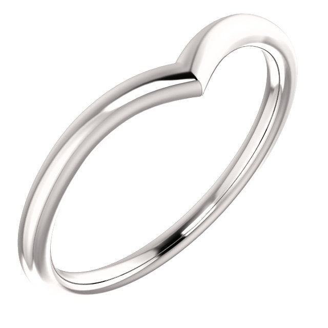 V Contour Wedding Band - Women's Plain V Shaped Curved Wedding Band