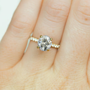4 Prong Solitaire with French Set Diamond Band, Stackable - Setting