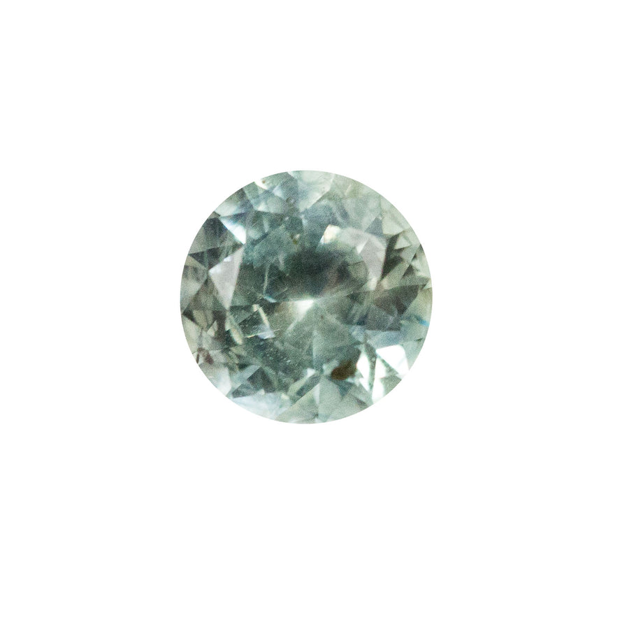 1.25CT ROUND MONTANA SAPPHIRE, GREEN GREY TEAL, SOME INCLUSIONS, UNHEATED, 6.17MM