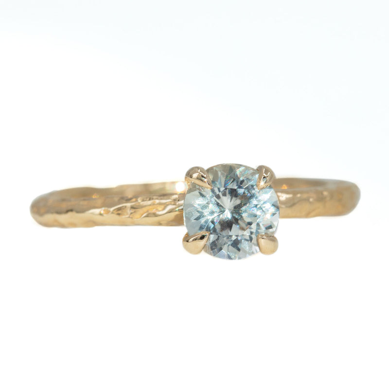0.85ct Montana Sapphire Evergreen Solitaire Ring in 14k Yellow Gold by Anueva Jewelry