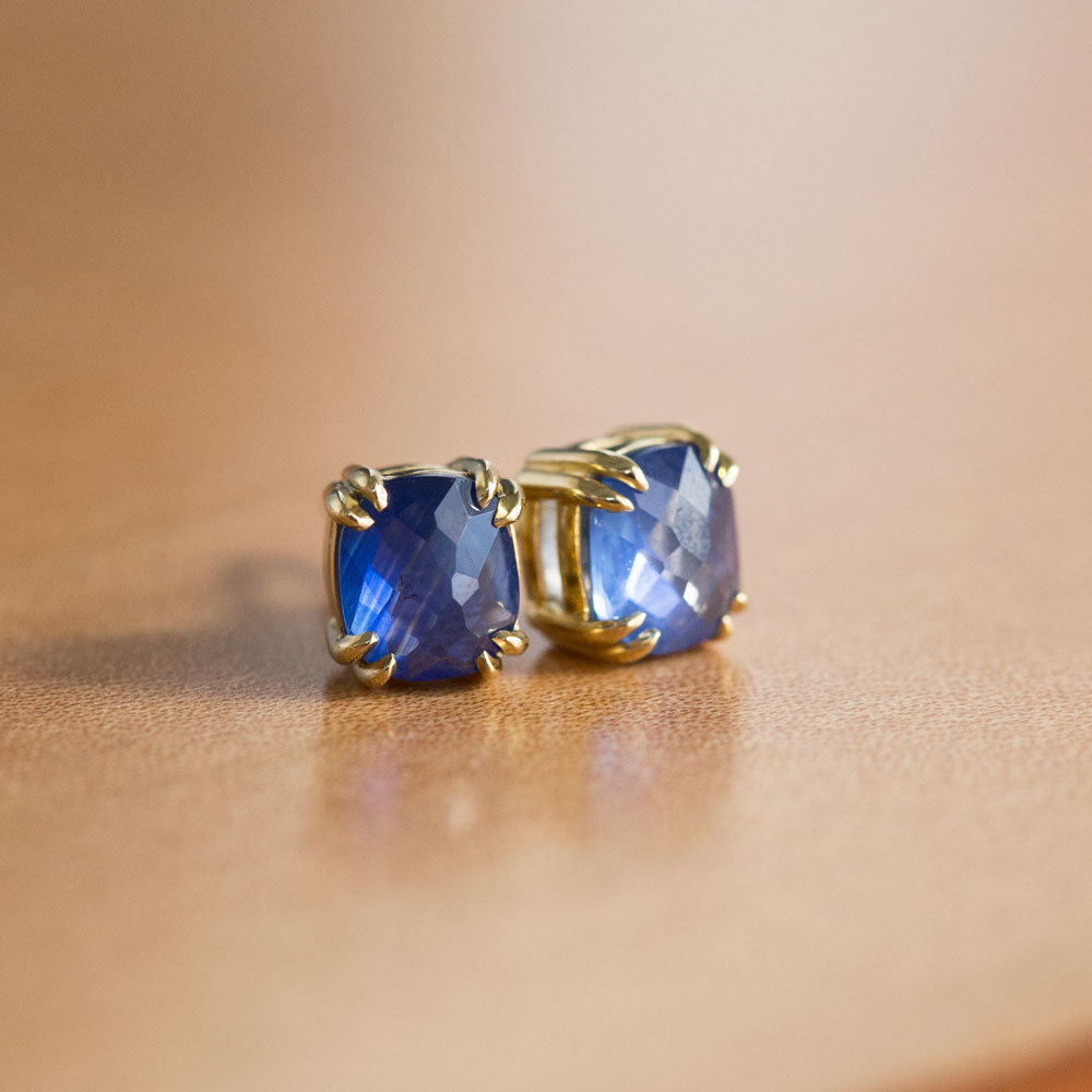 Cushion Rosecut Sapphire Earrings in 18k Yellow Gold Double Prong Settings