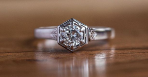 Custom Order-  Antique Low Profile Hexagon Ring with Moissanite Center Stone - Reserved for T.T