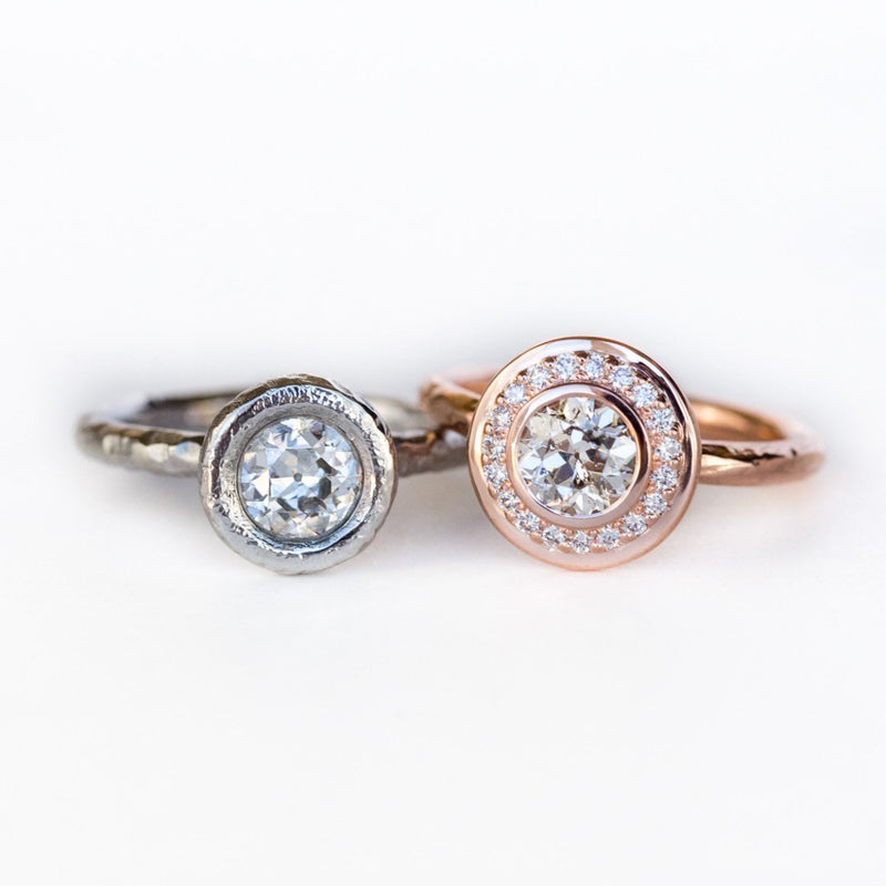 0.89 Old European Cut Diamond in Rose Gold Bezel Set Halo Evergreen