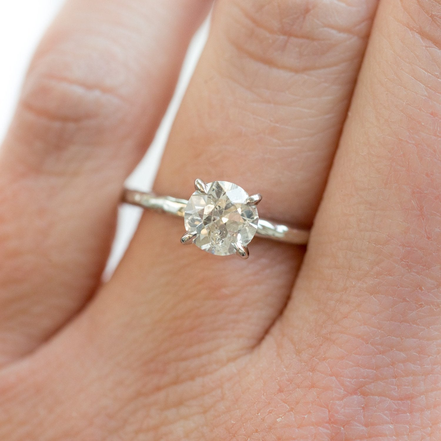 1e026c78d33 1.01ct Old European Cut Diamond Hand Carved Solitaire Engagement Ring -  White Gold Round Solitaire