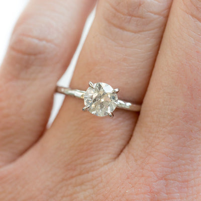 old european cut salt and pepper round solitaire old euro diamond handmade white recycled gold engagement ring