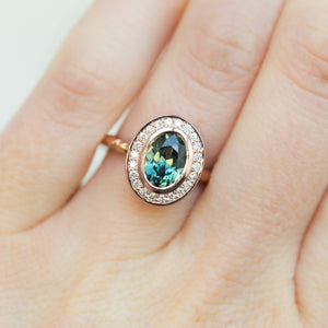 Custom Order- 1.94ct Oval Sapphire and Diamond Halo Ring Reserved for J.