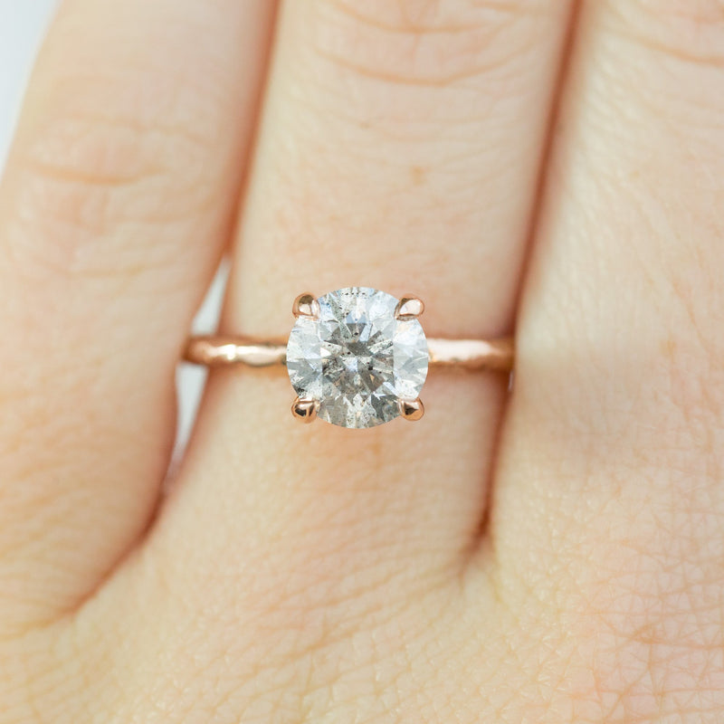 1.50ct Round GIA Grey Diamond Evergreen Solitaire Engagement Ring in 14k Rose