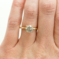 1.56ct Grey Salt & Pepper Diamond in Hand Carved Solitaire Engagement Ring - Yellow Gold Round Solitaire
