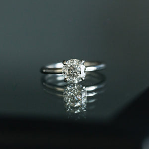 Custom Order-  1.63ct Salt and Pepper Diamond in 4 Prong Solitaire Setting - Reserved for J.P