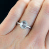 Anueva Jewelry Oval Rosecut Diamond in Satin White Gold Bezel Engagement Ring