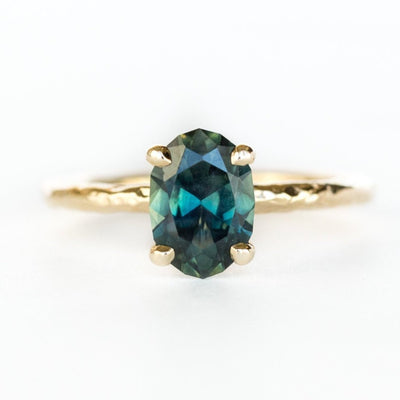 Custom Order- 2.18ct Oval Montana Sapphire and diamond ring in 18k Yellow Gold. Reserved for J.