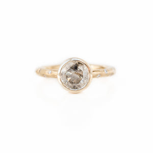 1.71ct Salt and Pepper Diamond in low profile Bezel Setting with Evergreen Embedded Diamonds 14k Yellow