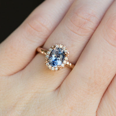 1.76ct Oval Watercolor Blue Sapphire in Halo 14k Rose Gold Evergreen Setting