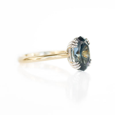 4.37ct Oval Unheated Sapphire in Platinum and 18k Yellow Triple Prong Cathedral Setting
