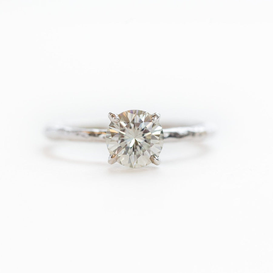 6.7mm (1ct) Gold Grey Moissanite 4-Prong Carved Solitaire Engagement Ring in Recycled White Gold by Anueva Jewelry