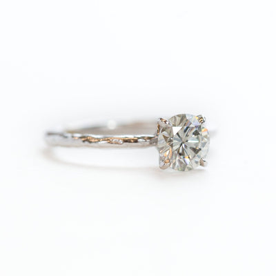 evergreen moissanite solitaire grey diamond eco earth friendly recycled carved white gold engagement ring anueva jewelry