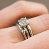 moissanite solitaire grey diamond eco earth friendly recycled carved white gold engagement ring anueva jewelry