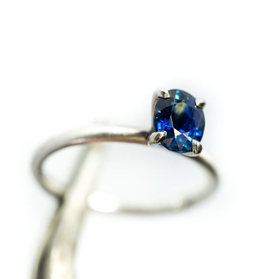 1.32ct Blue Oval Sri Lankan Sapphire Satin White Gold Ring by Anueva Jewelry