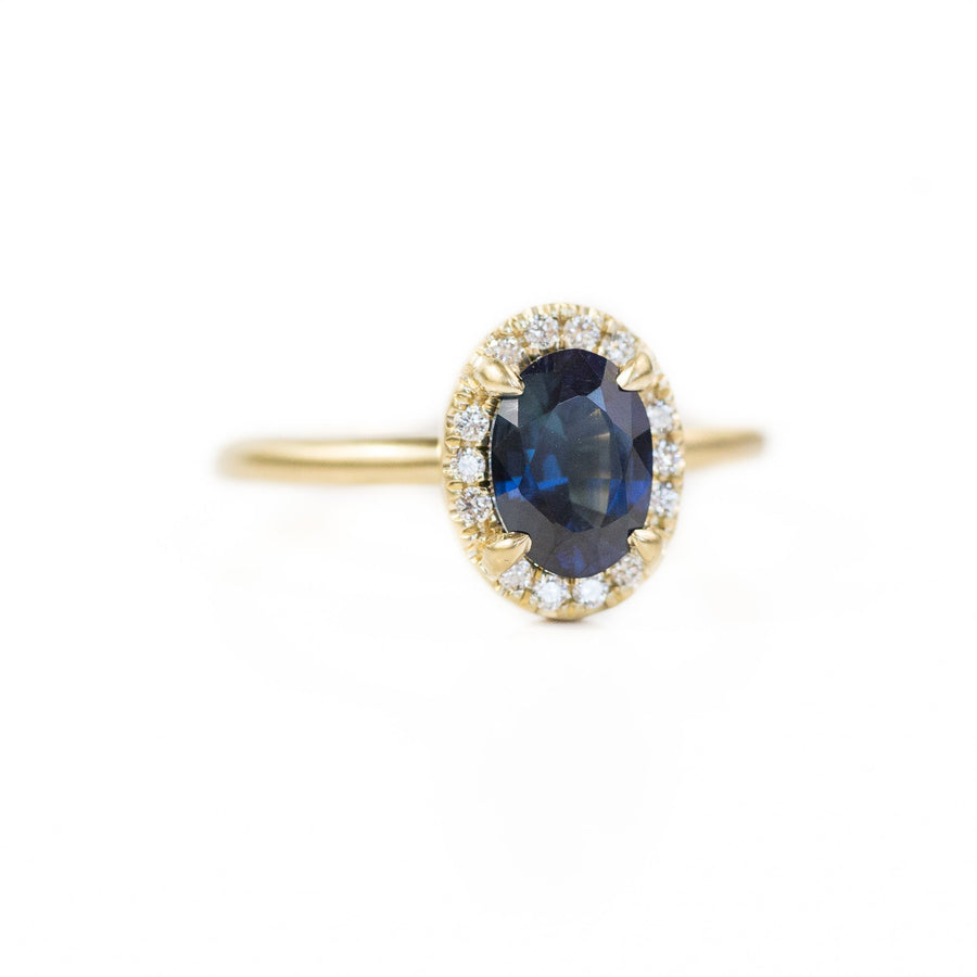 1.44ct Blue Oval Unheated Sapphire Diamond in Halo 18k Yellow Gold Setting