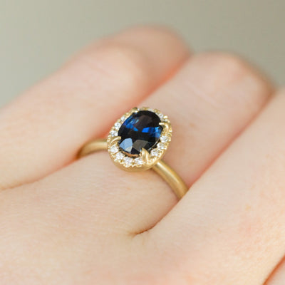 Custom Order- 1.90ct Oval Sapphire with Diamond Halo Ring. Reserved for G.
