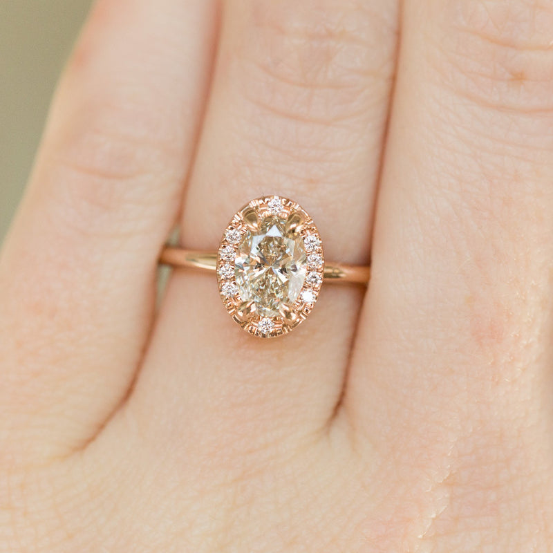 1.01ct Oval Champagne Diamond in Halo 18k Rose Gold Setting