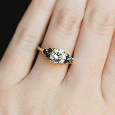 Grey Moissanite and Black Diamond Side Stone Cluster Ring