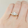 Grey Moissanite and White Diamond Side Stone Cluster Ring
