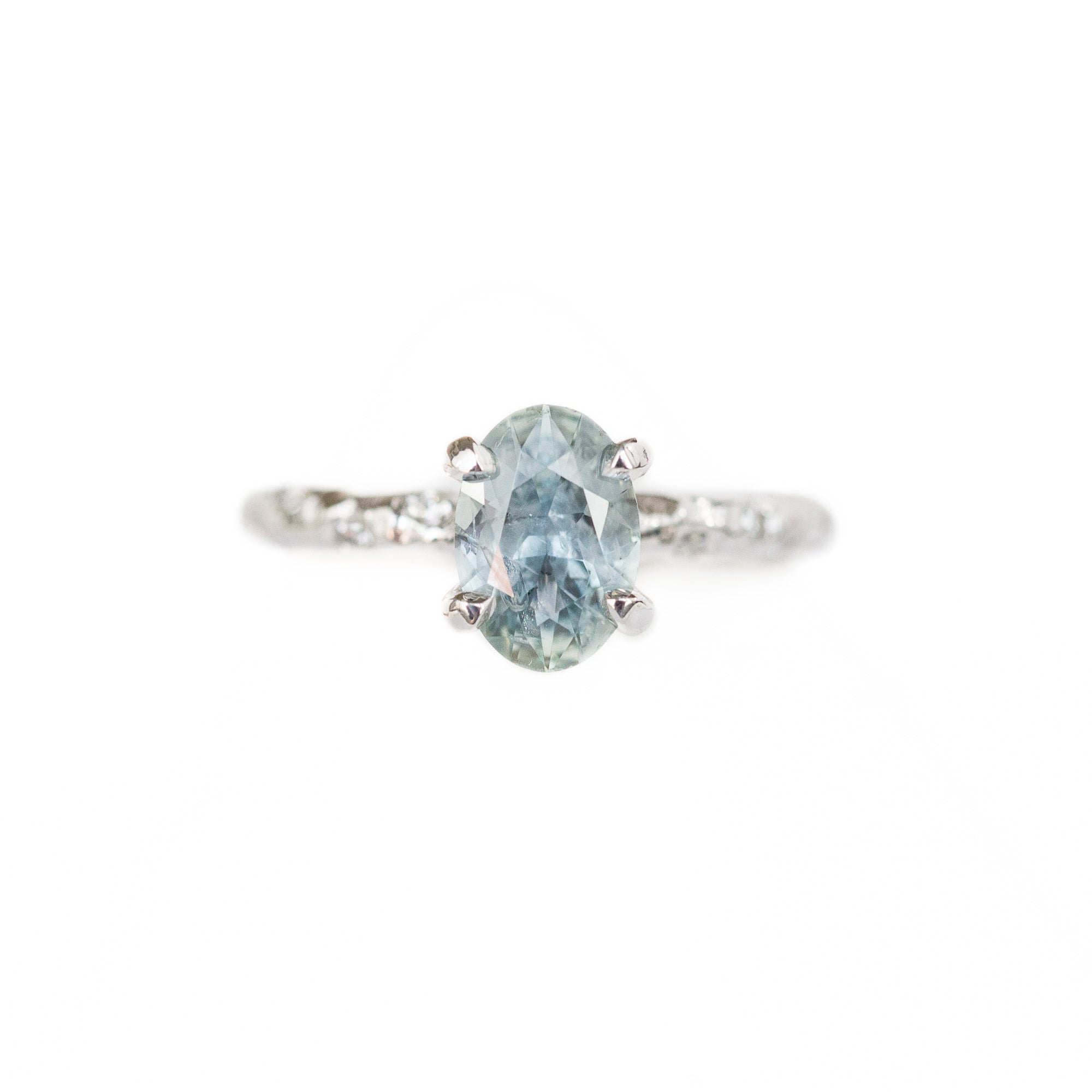 3a6d9ddc1 1.30ct Oval Icy Blue Montana Sapphire Ring with Embedded Diamonds in 14k  White Gold