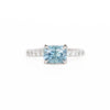 1.75ct East-West Radiant Cut Montana Sapphire with Diamond Band in 14k White