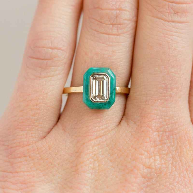 Emerald Cut Diamond and Green Gemstone Halo Ring - Chrysocolla Green Art Deco Ring in Two-Tone 14k Gold