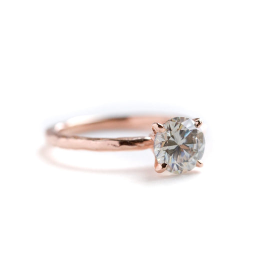7.8mm (1.75ct) Gold Grey Moissanite 4-Prong Carved Solitaire Engagement Ring in Recycled Gold by Anueva Jewelry